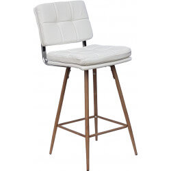 Tabouret de bar design en PU blanc (lot de 2) Alexis