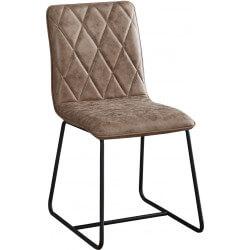 Lot de 4 chaises contemporaines en tissu brun et métal noir Louna