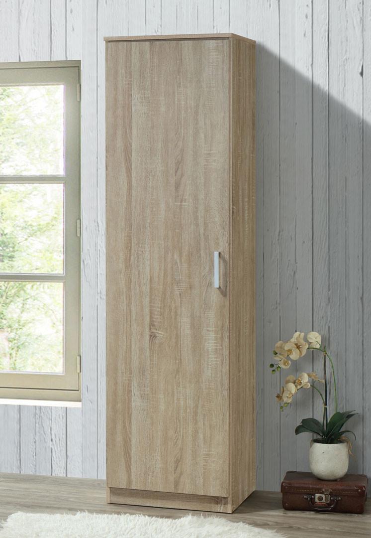 Armoire contemporaine en bois coloris chêne clair 1 porte Océane I