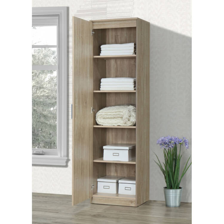 armoire contemporaine en bois coloris ch ne clair 1 porte oc ane i matelpro. Black Bedroom Furniture Sets. Home Design Ideas