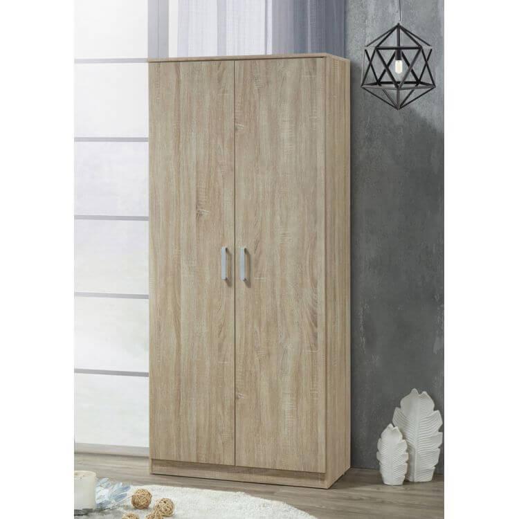 Armoire contemporaine en bois coloris chêne clair 2 portes Océane II