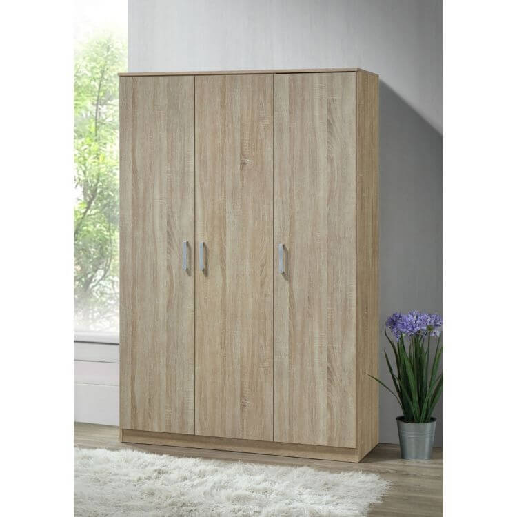 armoire contemporaine en bois coloris ch ne clair 3 portes oc ane iii matelpro. Black Bedroom Furniture Sets. Home Design Ideas