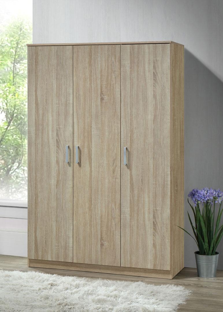 Armoire contemporaine en bois coloris chêne clair 3 portes Océane Iii