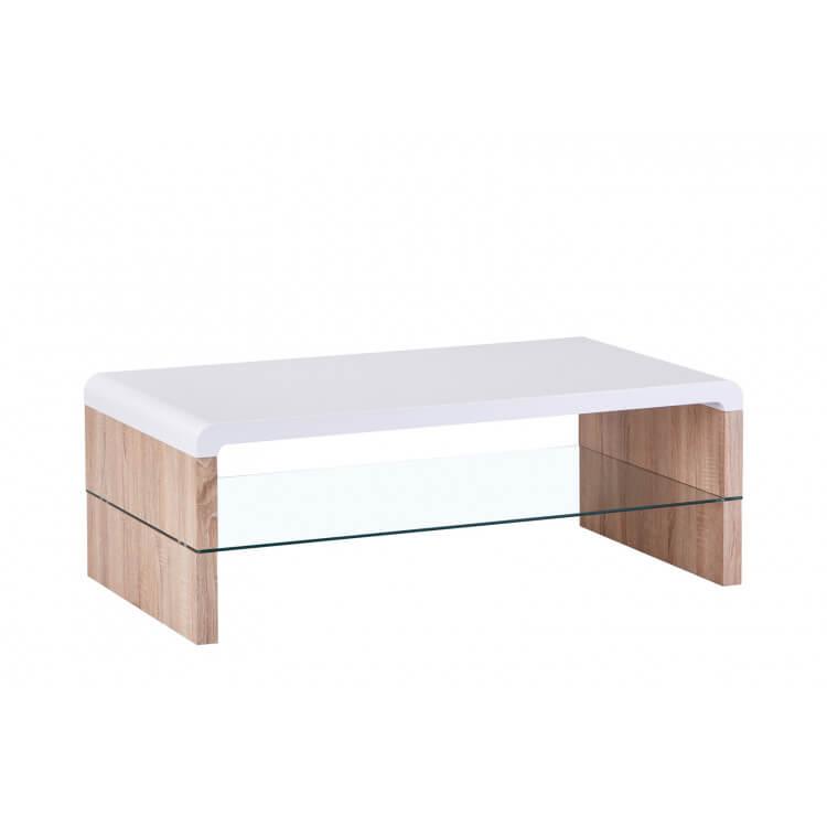 Table basse contemporaine bois et verre chêne clair/blanc Katia