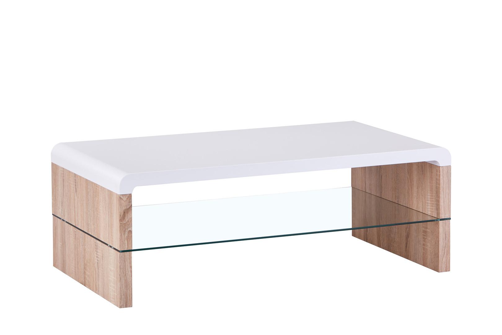Table En Bois Chene Clair table basse contemporaine bois et verre chêne clair/blanc katia