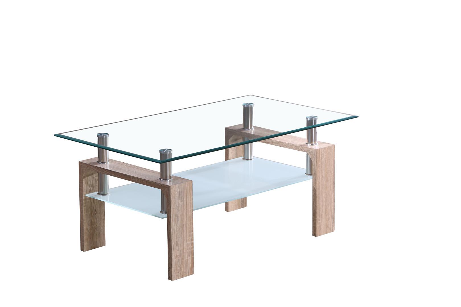 Table En Bois Chene Clair table basse design en verre et bois chêne clair madère