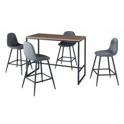 Ensemble table et 4 tabourets design métal et bois Boston