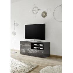 Meuble TV design 122 cm laqué gris sérigraphié Diamant