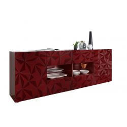 Buffet/bahut design laqué rouge sérigraphié 241 cm Rubis
