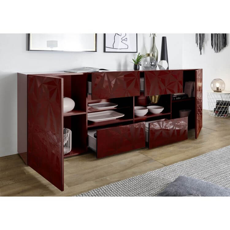 buffet bahut design laqu rouge s rigraphi 241 cm rubis matelpro. Black Bedroom Furniture Sets. Home Design Ideas