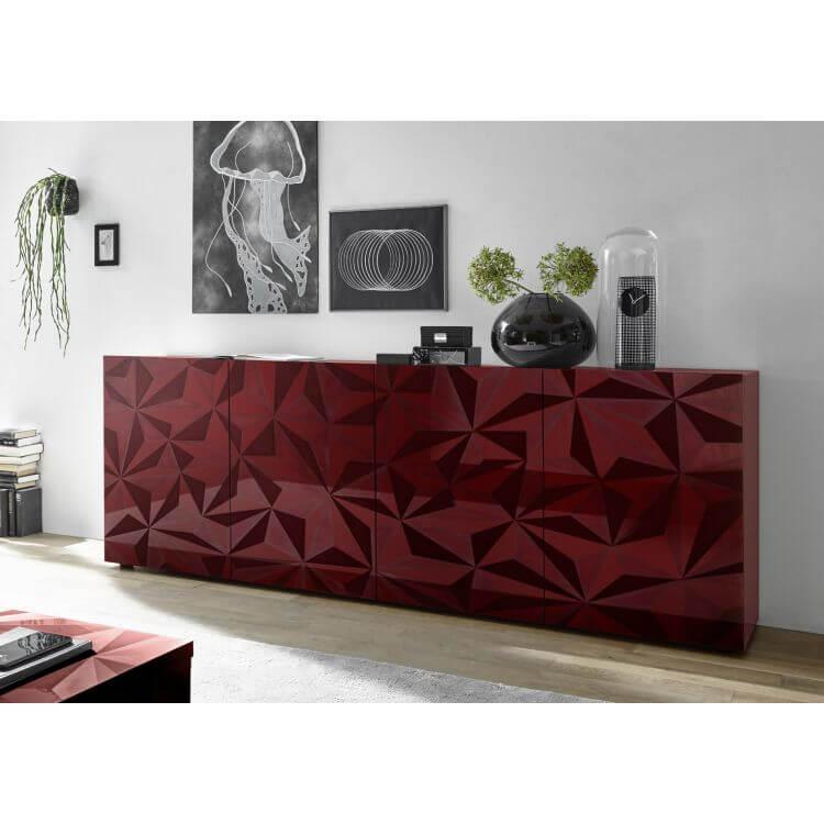 buffet bahut design laqu rouge s rigraphi 241 cm rubis ii matelpro. Black Bedroom Furniture Sets. Home Design Ideas