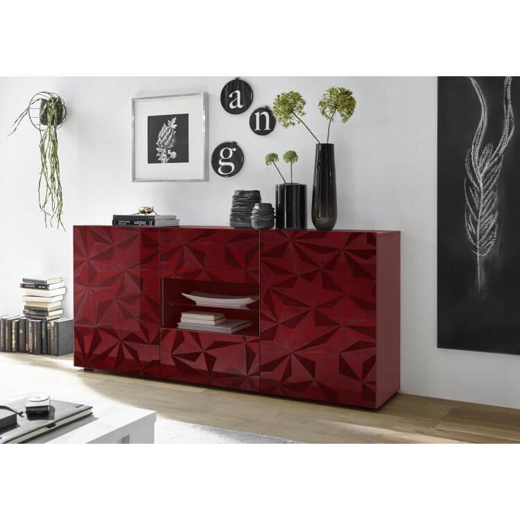 buffet bahut design laqu rouge s rigraphi 181 cm rubis matelpro. Black Bedroom Furniture Sets. Home Design Ideas