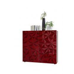 Vaisselier/argentier design laqué rouge sérigraphié Rubis