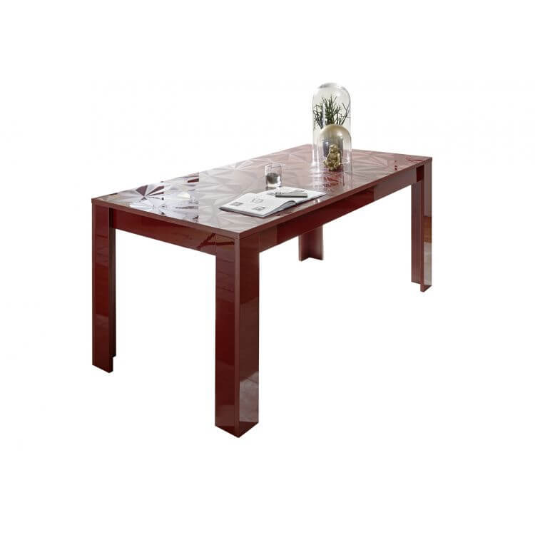 Table De Salle A Manger Design Laque Rouge Serigraphie Rubis