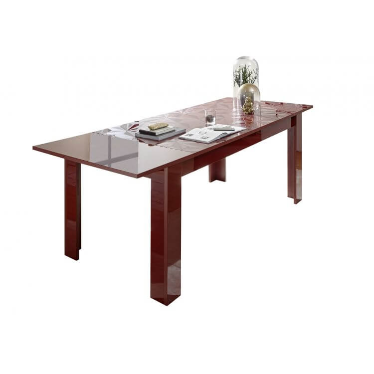 Table De Salle A Manger Extensible Design Laque Rouge Serigraphie Rubis