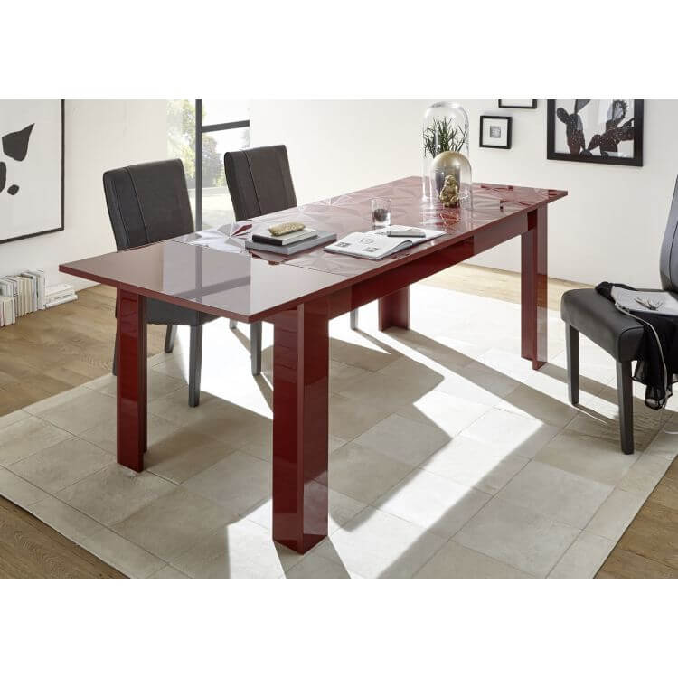 table de salle manger extensible design laqu rouge s rigraphi rubis matelpro. Black Bedroom Furniture Sets. Home Design Ideas