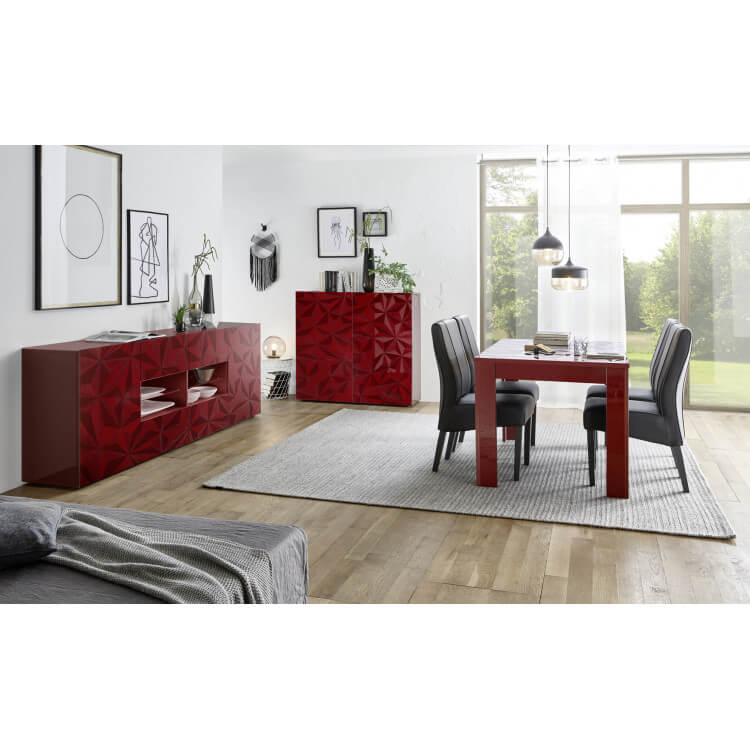 table de salle manger design laqu rouge s rigraphi rubis matelpro. Black Bedroom Furniture Sets. Home Design Ideas