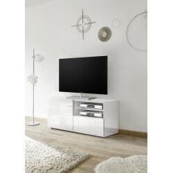 Meuble TV design 122 cm laqué blanc sérigraphié Andreasse