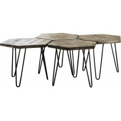 Tables basses hexagonales modulables en bois massif Basile III