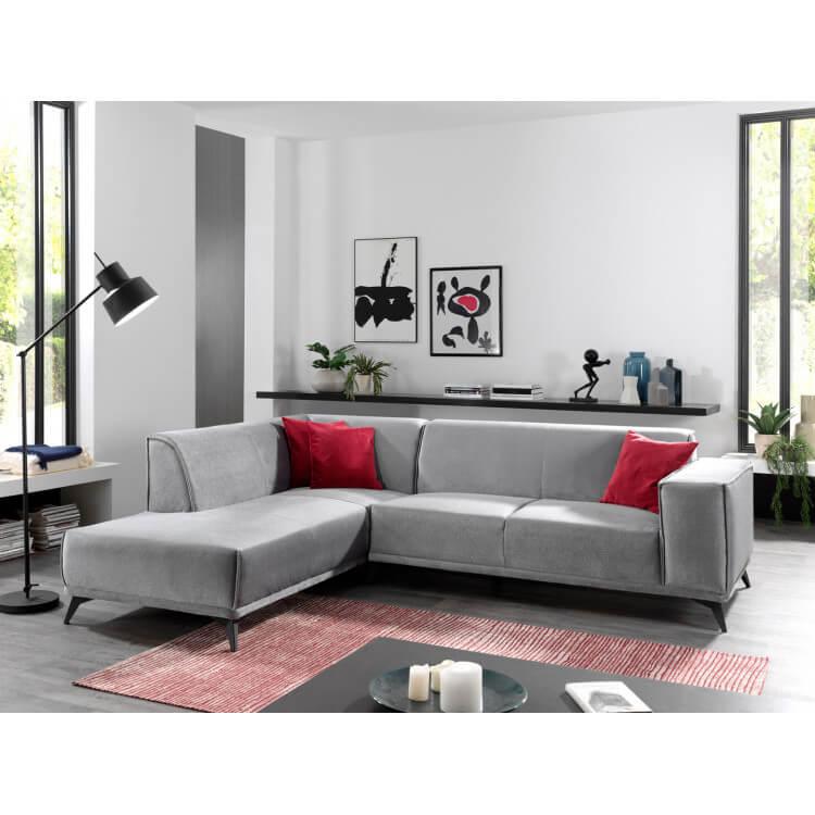 Canapé d'angle contemporain en tissu gris Mathian