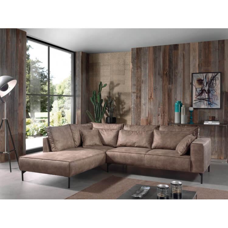 Canapé d'angle contemporain en tissu brun Sebastian