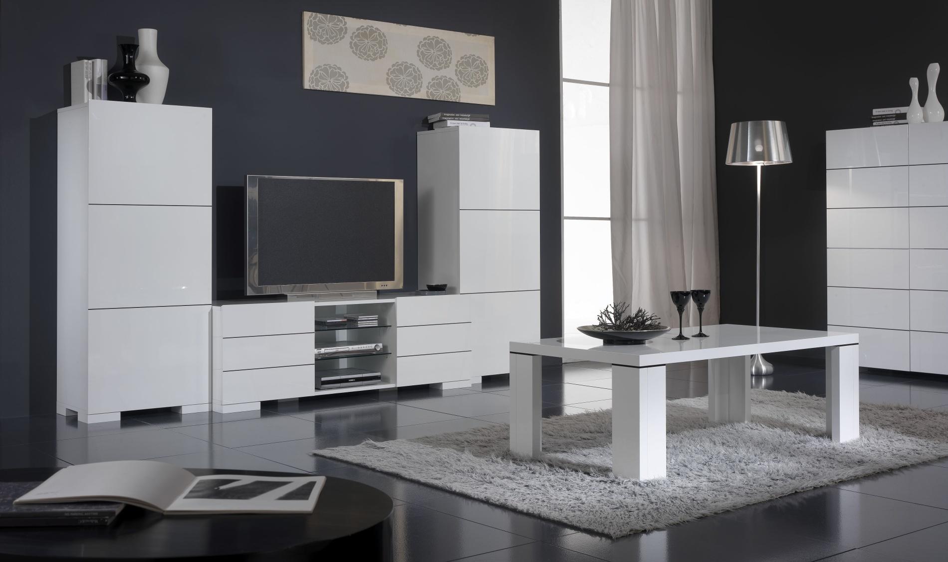 Ensemble Meuble TV pour écran plasma & 2 colonnes FLORIANE