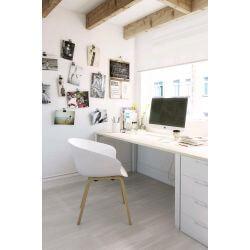 Chaise d'accueil design bois et PVC blanc (lot de 4) Ostende