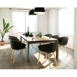Chaise d'accueil design bois et PVC noir (lot de 4) Ostende