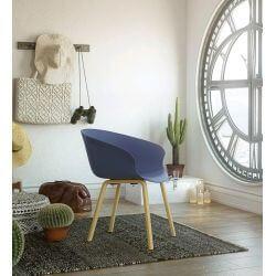 Chaise d'accueil design bois et PVC bleu (lot de 4) Ostende