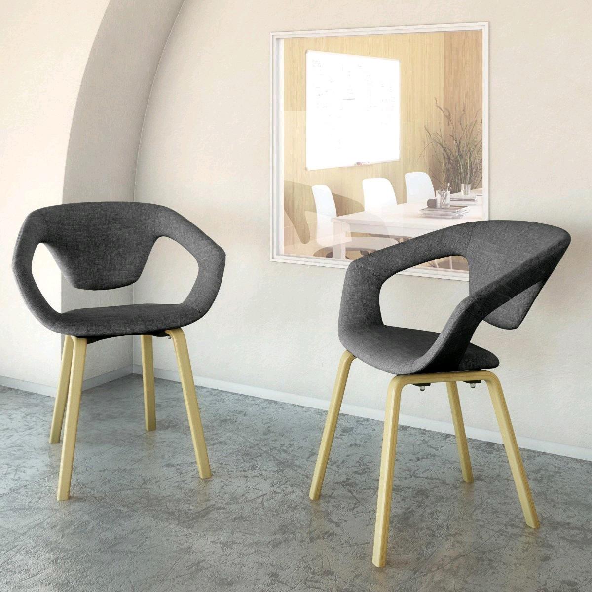 Chaise d'accueil design bois et tissu (lot de 2) Rocamadour