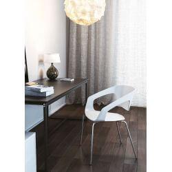 Chaise d'accueil design métal chromé et PVC noir (lot de 4) Rocamadour