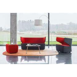 Canapé design 2 places en tissu anthracite/rouge Jordana