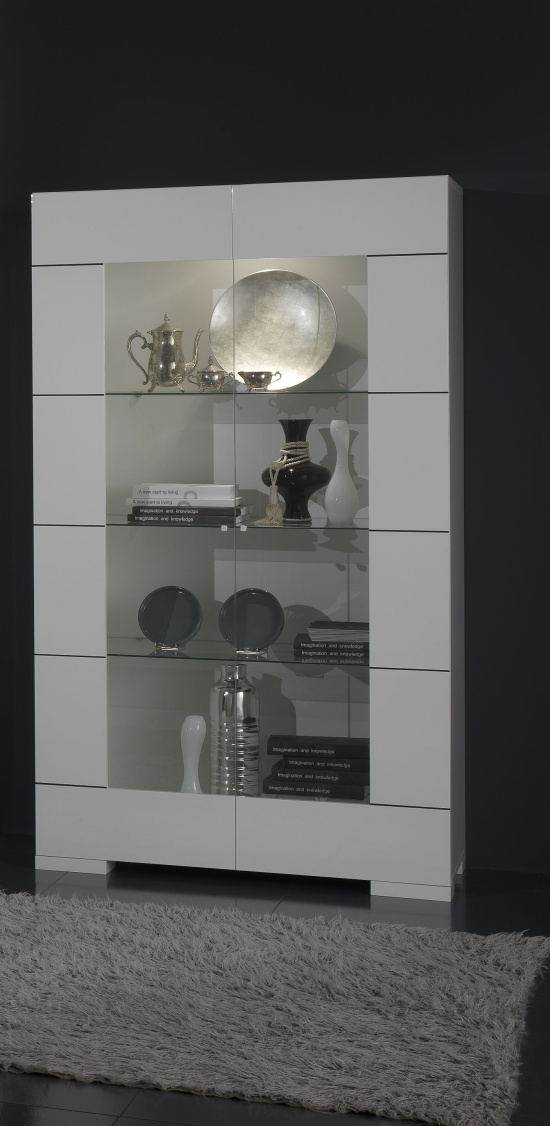 Vitrine design coloris blanc brillant Floriane