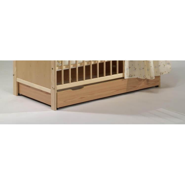 Tiroir de lit contemporain coloris naturelpour lit à barreaux Luc