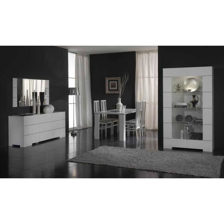 Salle à manger design coloris blanc brillant Floriance IV