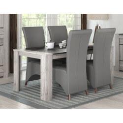 Table de salle à manger contemporaine coloris chêne gris Talisman