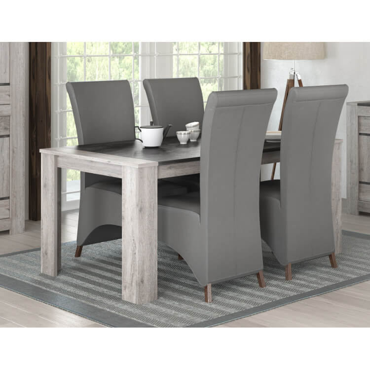 Table De Salle A Manger Contemporaine Coloris Chene Gris Talisman