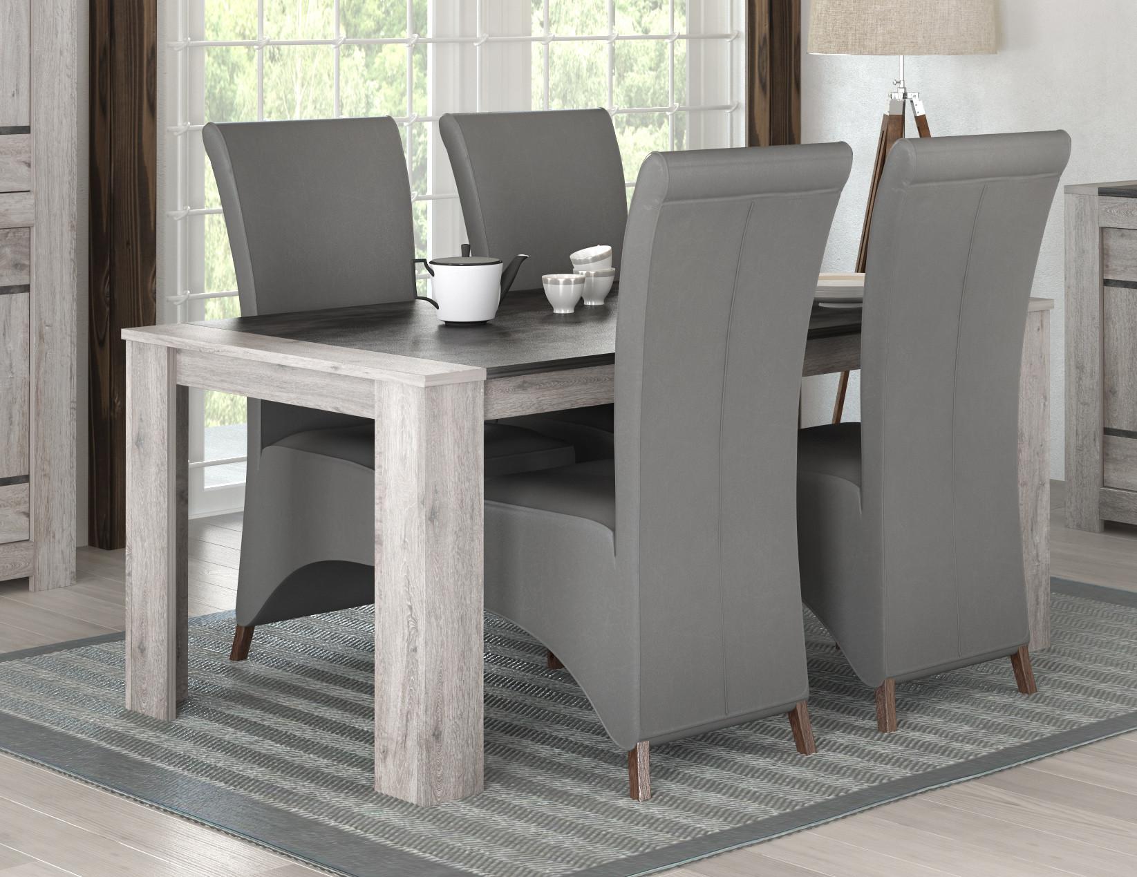 Table de salle à manger contemporaine chêne gris Talisman