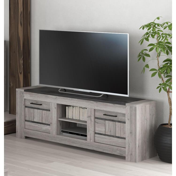 meuble tv contemporain chene gris talisman