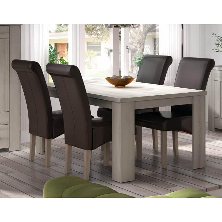 Table de salle à manger contemporaine gris clair Elisa