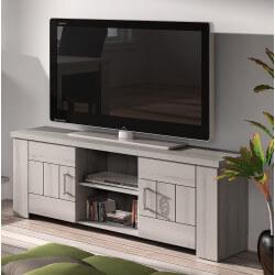 Meuble TV contemporain gris clair Elisa