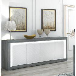 Buffet/bahut contemporain gris foncé/laqué blanc Gretal