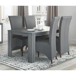Table de salle à manger contemporaine gris foncé Gretel