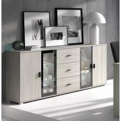 Buffet/bahut contemporain gris clair Mirella