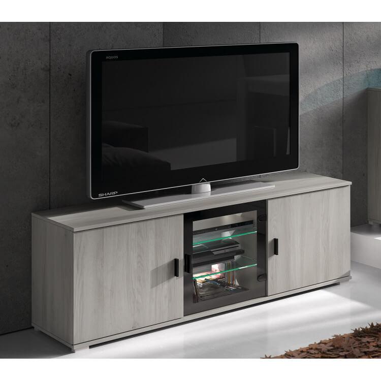 Meuble TV contemporain gris clair Mirella
