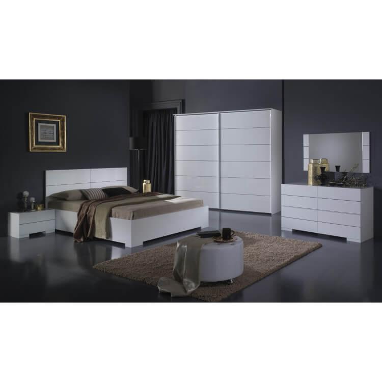 Chambre adulte complète design laquée blanche Gardian II