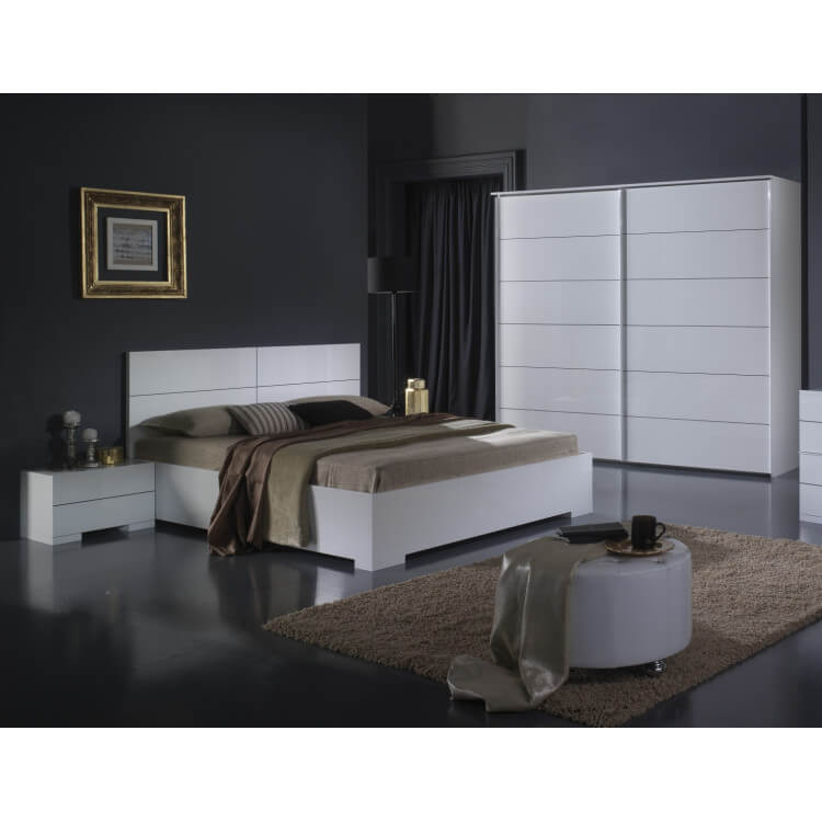 Chambre adulte design laquée blanche Gardian
