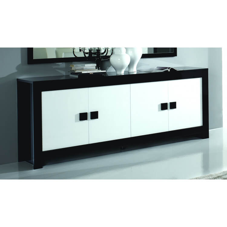 Buffet/bahut 4 portes design laqué noir et blanc Dali