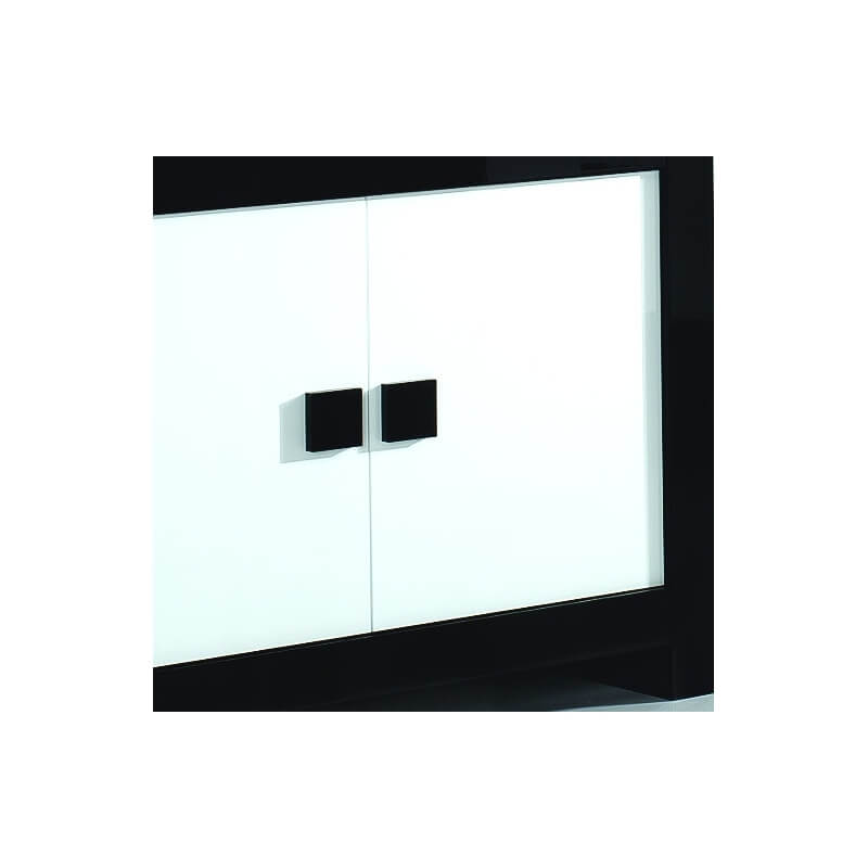 buffet bahut 4 portes design laqu noir et blanc dali. Black Bedroom Furniture Sets. Home Design Ideas