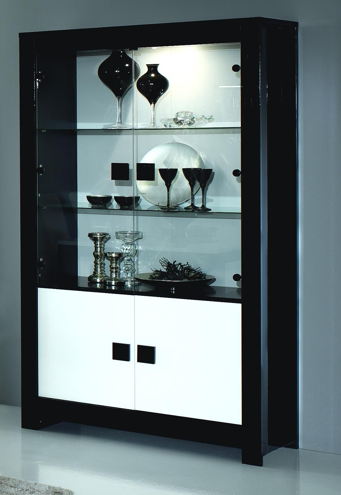 Vitrine 2 portes design laquée noire et blanche Dali